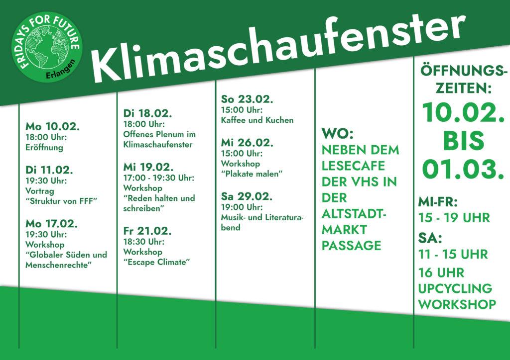 Zeitplan Klimaschaufenster