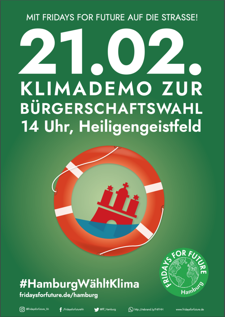 Plakat Hamburg Wählt Klima 21.02 Klimademo zur Bürgerschaftswahl 14 Uhr, Keiligengeistfeld #HamburgWähltKlima